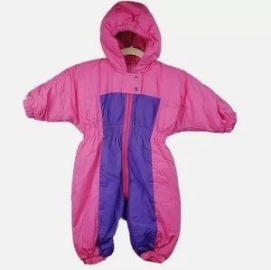 Vintage Kids Pink Colorblock Ski Snow Winter Suit